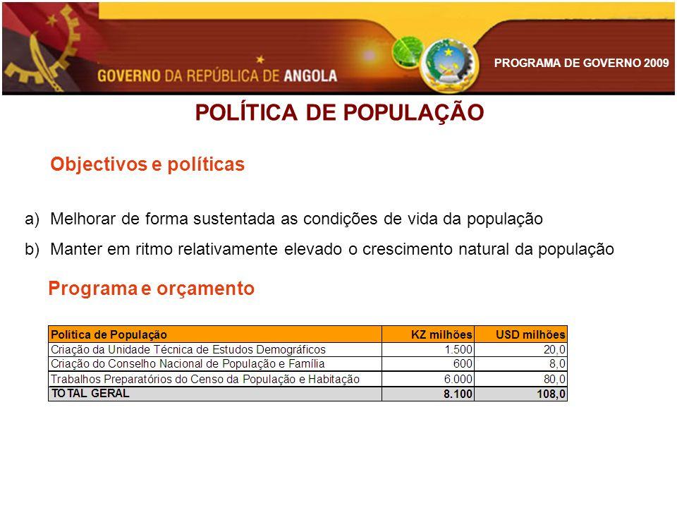 POLÍTICA DE POPULAÇÃO Programa e orçamento Objectivos e políticas