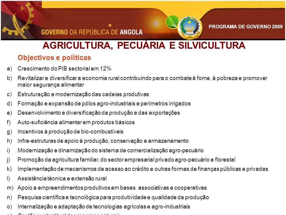 AGRICULTURA, PECUÁRIA E SILVICULTURA