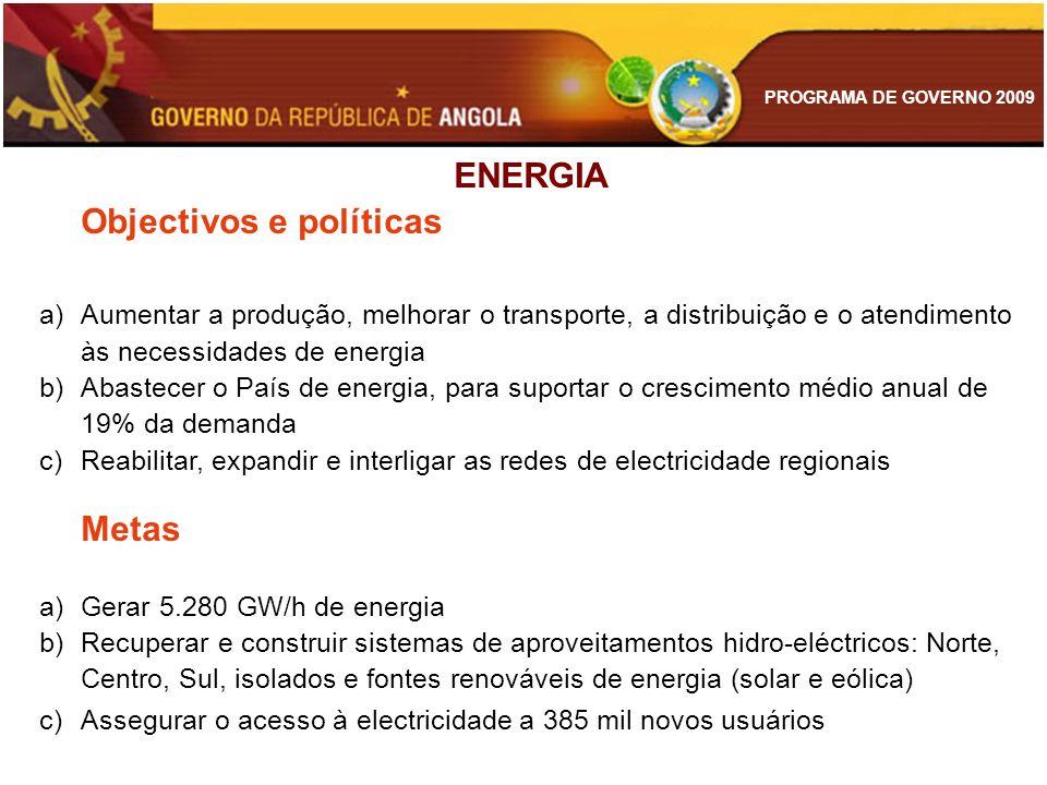 ENERGIA Objectivos e políticas. Aumentar a produção, melhorar o transporte, a distribuição e o atendimento às necessidades de energia.