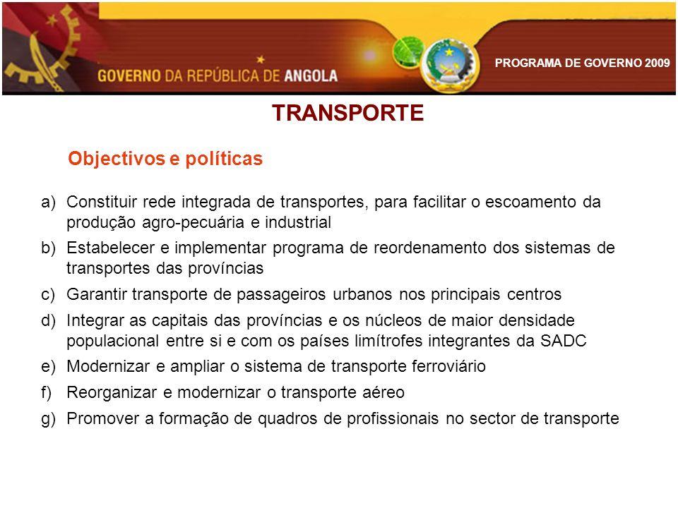 TRANSPORTE Objectivos e políticas