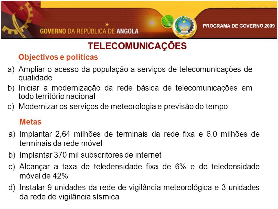 TELECOMUNICAÇÕES Objectivos e políticas