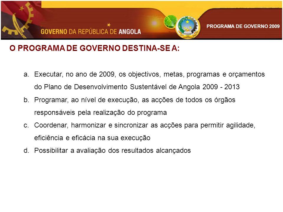 O PROGRAMA DE GOVERNO DESTINA-SE A: