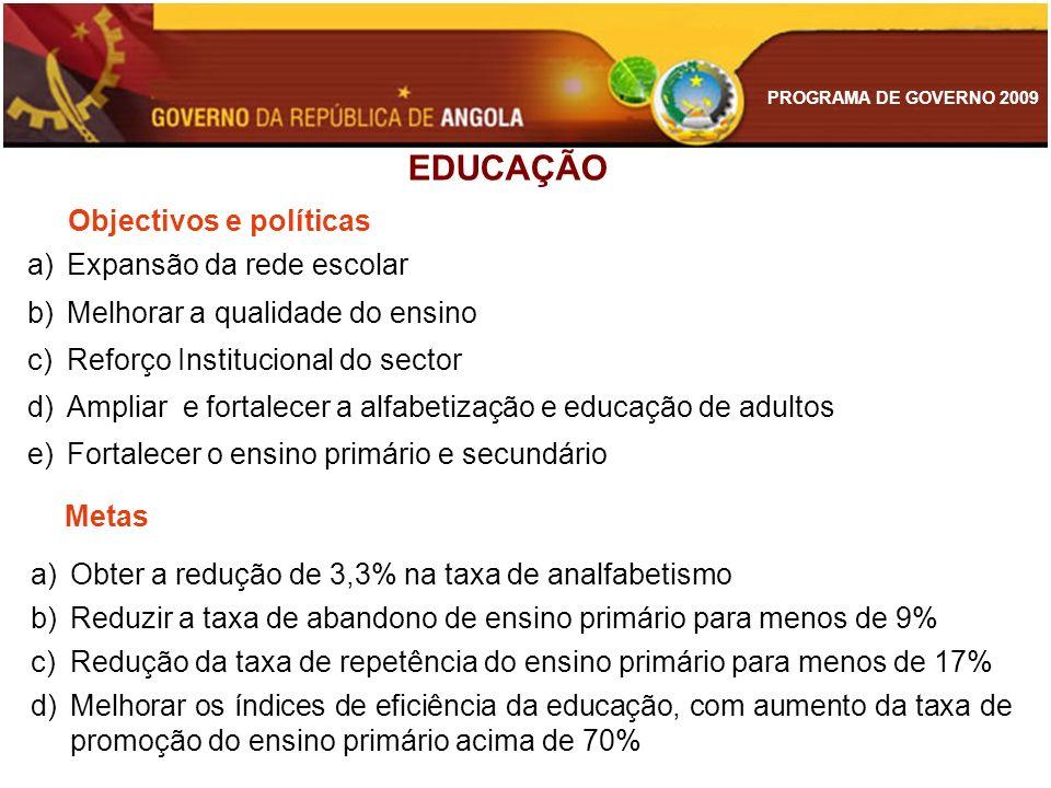 EDUCAÇÃO Objectivos e políticas Expansão da rede escolar