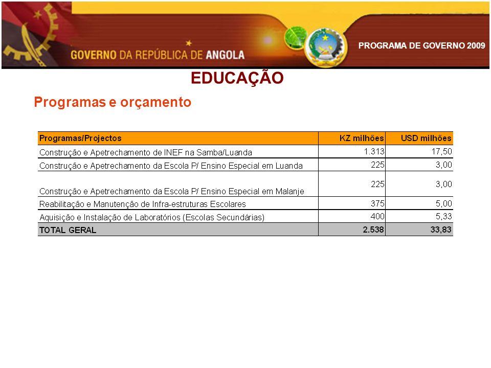 EDUCAÇÃO Programas e orçamento
