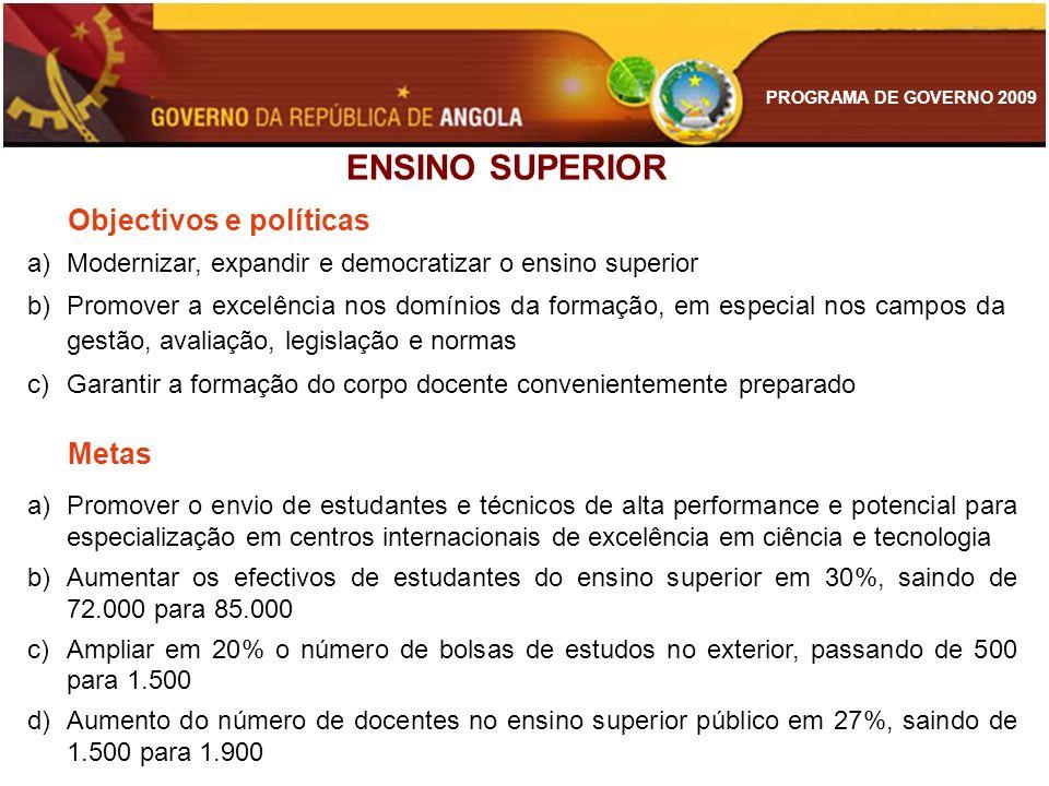 ENSINO SUPERIOR Objectivos e políticas Metas