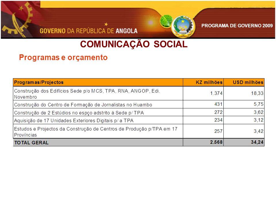 COMUNICAÇÃO SOCIAL Programas e orçamento
