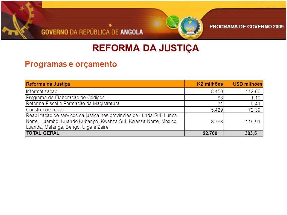 REFORMA DA JUSTIÇA Programas e orçamento 85