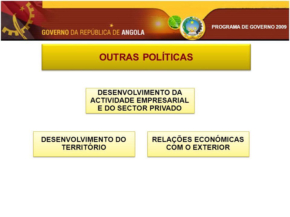 OUTRAS POLÍTICAS DESENVOLVIMENTO DA ACTIVIDADE EMPRESARIAL E DO SECTOR PRIVADO. DESENVOLVIMENTO DO TERRITÓRIO.