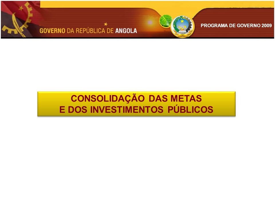 CONSOLIDAÇÃO DAS METAS E DOS INVESTIMENTOS PÚBLICOS