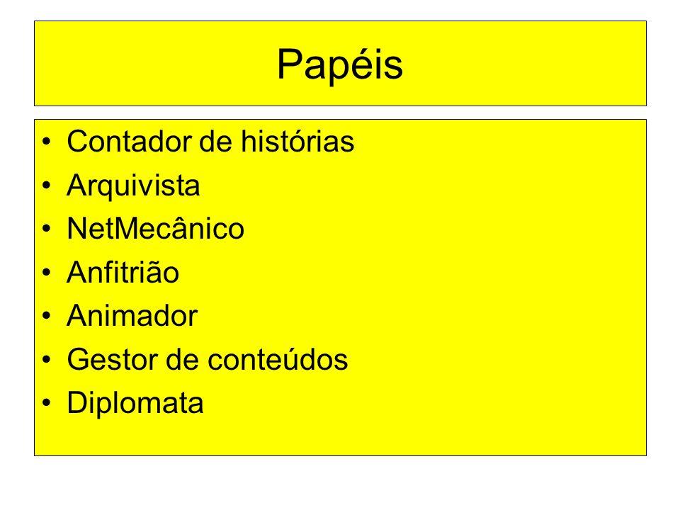Papéis Contador de histórias Arquivista NetMecânico Anfitrião Animador