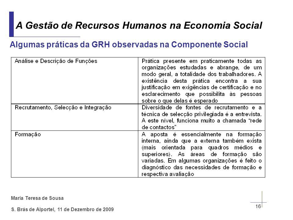 Algumas práticas da GRH observadas na Componente Social