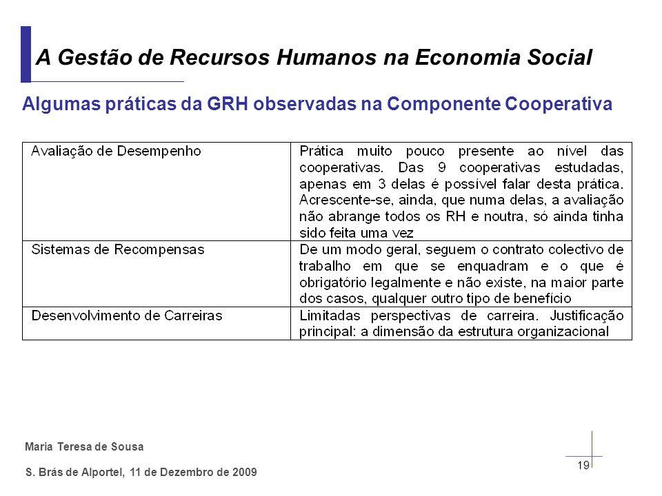 Algumas práticas da GRH observadas na Componente Cooperativa
