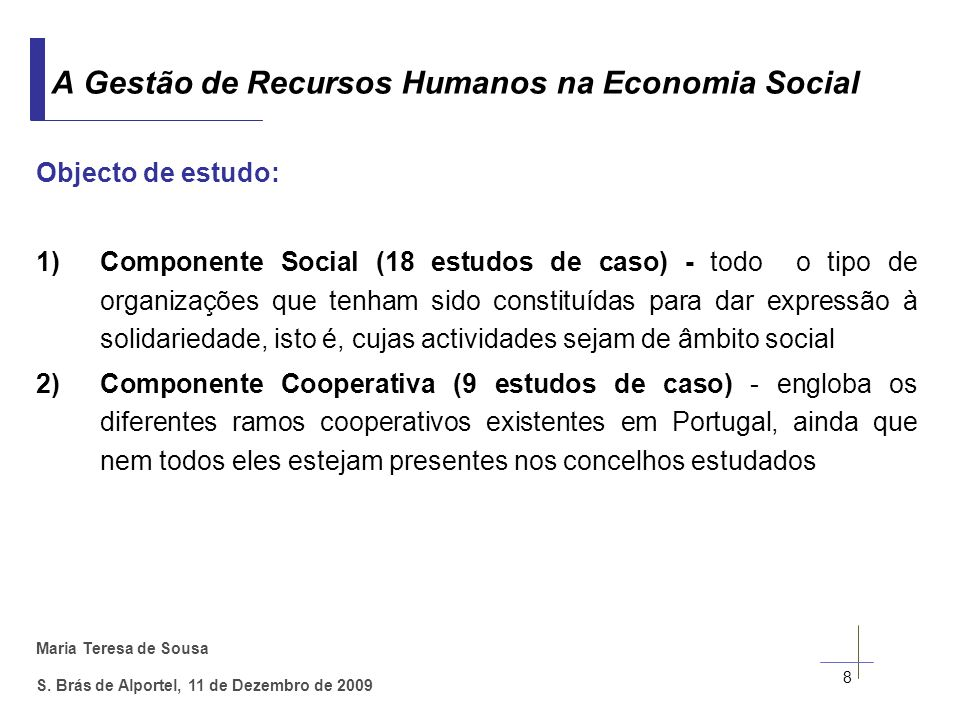 A Gestão de Recursos Humanos na Economia Social