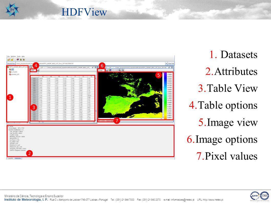 HDFView Datasets Attributes Table View Table options Image view Image options Pixel values
