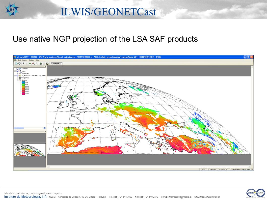 ILWIS/GEONETCast Use native NGP projection of the LSA SAF products