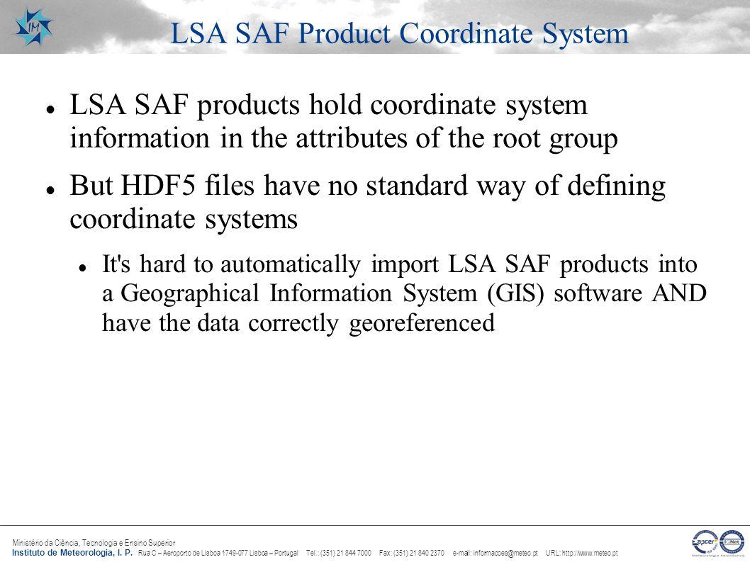 LSA SAF Product Coordinate System