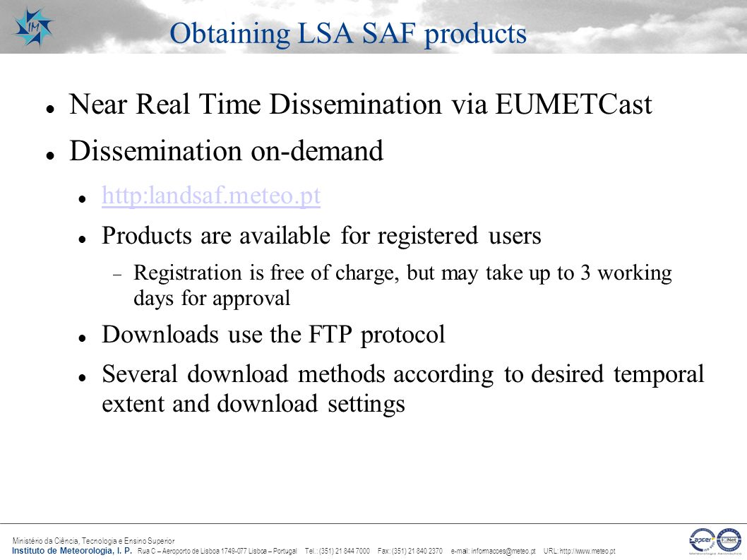 Obtaining LSA SAF products
