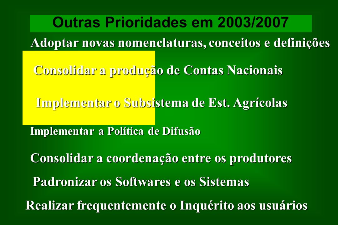 Outras Prioridades em 2003/2007