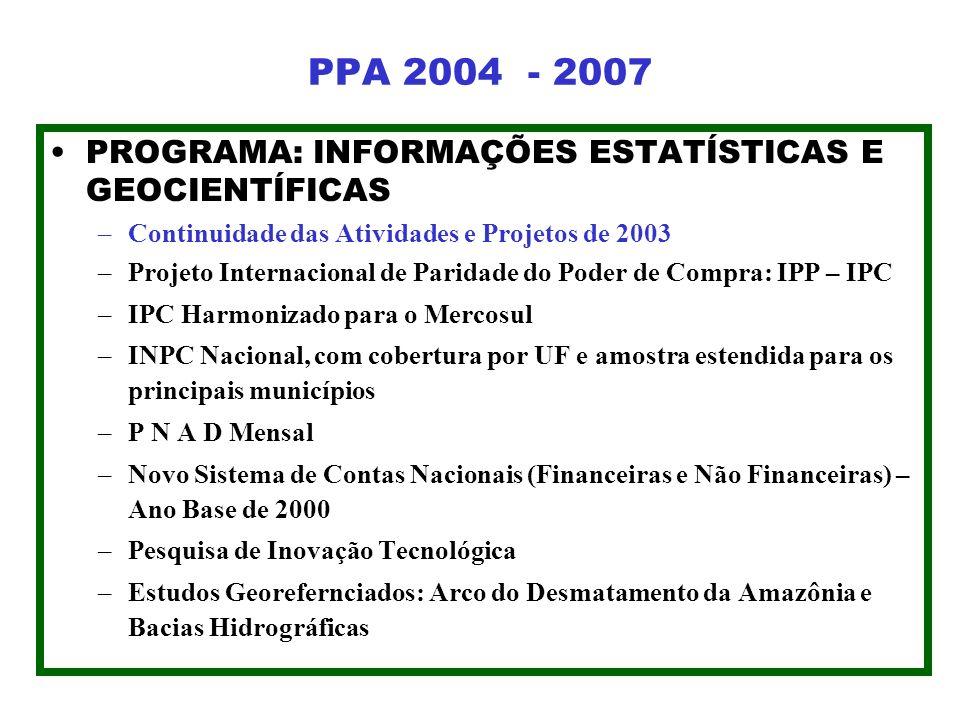 PPA 2004 - 2007 PROGRAMA: INFORMAÇÕES ESTATÍSTICAS E GEOCIENTÍFICAS