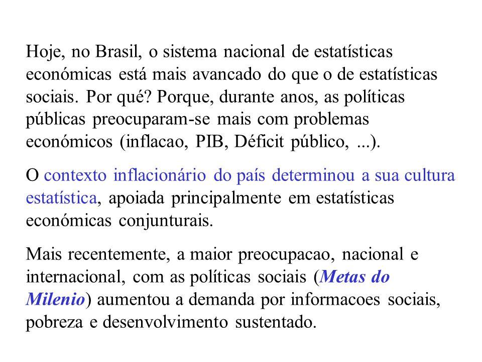 No Brasil, o Instituto Brasileiro de Geografia e Estatística (IBGE) coordena dois sub-sistemas de informacao: