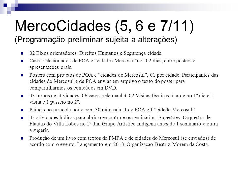 MercoCidades (5, 6 e 7/11) (Programação preliminar sujeita a alterações)