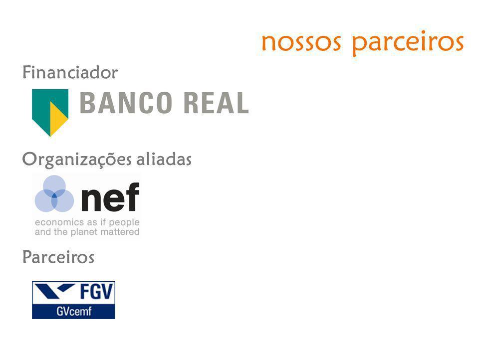 nossos parceiros Financiador Organizações aliadas Parceiros