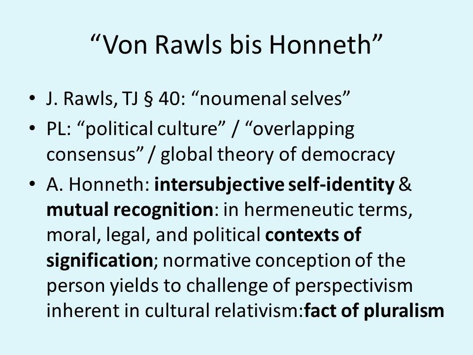 Von Rawls bis Honneth