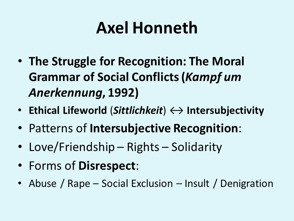 Axel Honneth The Struggle for Recognition: The Moral Grammar of Social Conflicts (Kampf um Anerkennung, 1992)