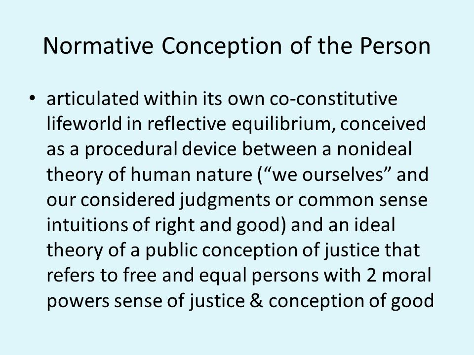 Normative Conception of the Person