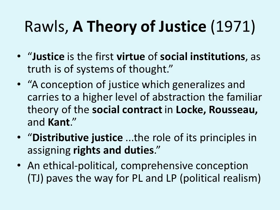Rawls, A Theory of Justice (1971)