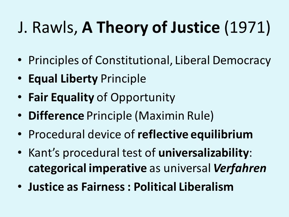 J. Rawls, A Theory of Justice (1971)