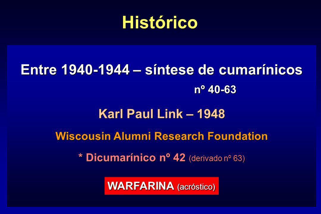 Histórico Entre 1940-1944 – síntese de cumarínicos nº 40-63