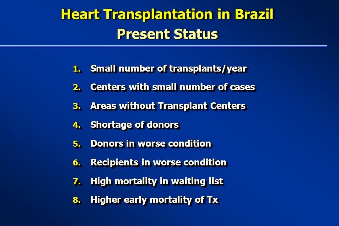 Heart Transplantation in Brazil Present Status