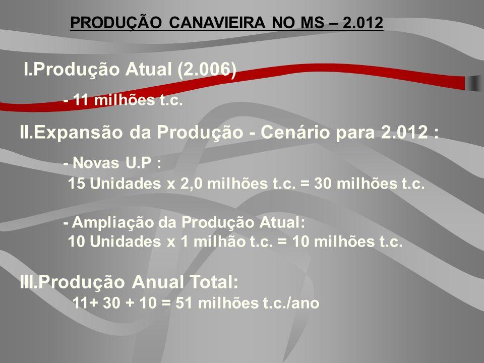 PRODUÇÃO CANAVIEIRA NO MS – 2.012