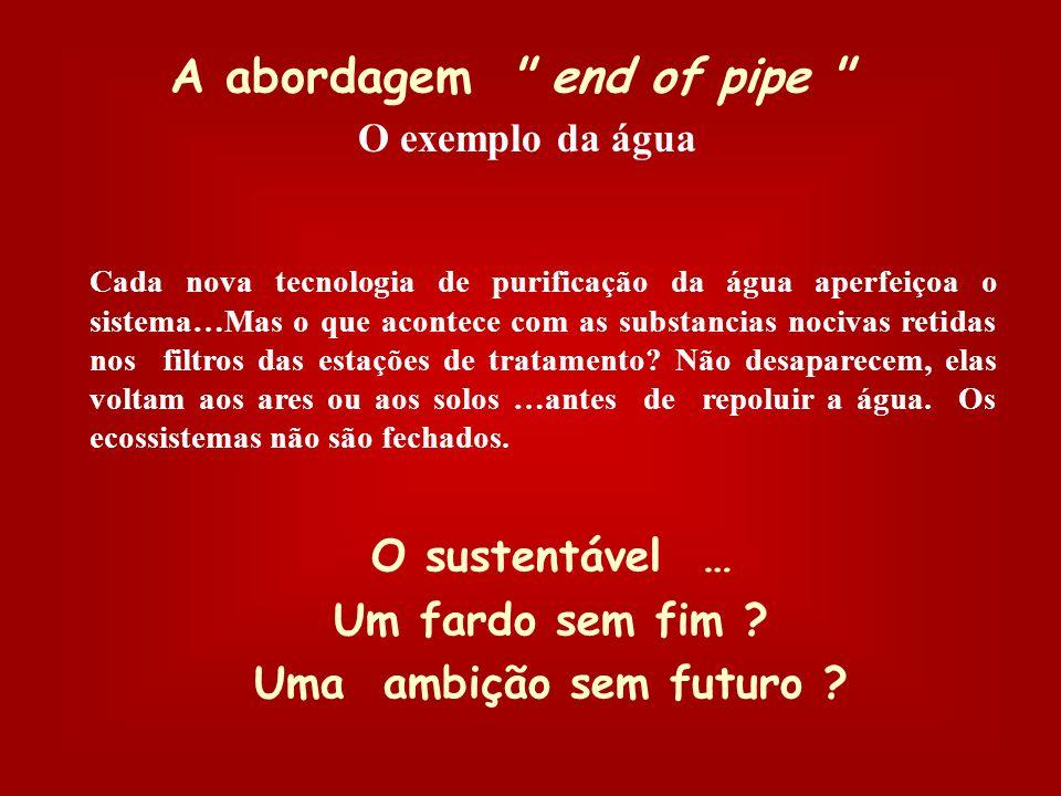 A abordagem end of pipe O sustentável … Um fardo sem fim