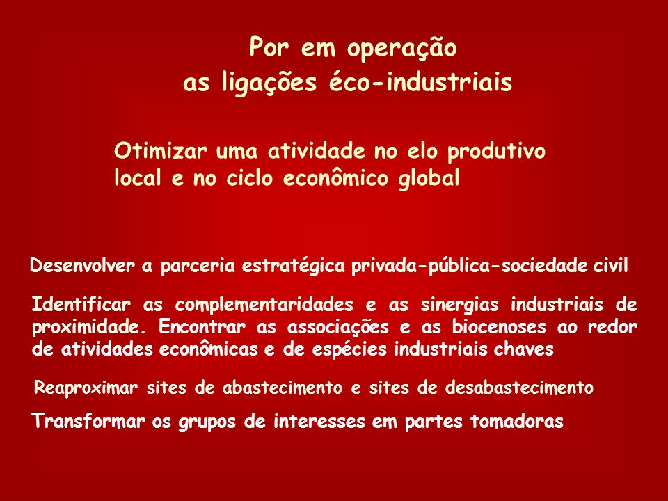Por em operação as ligações éco-industriais