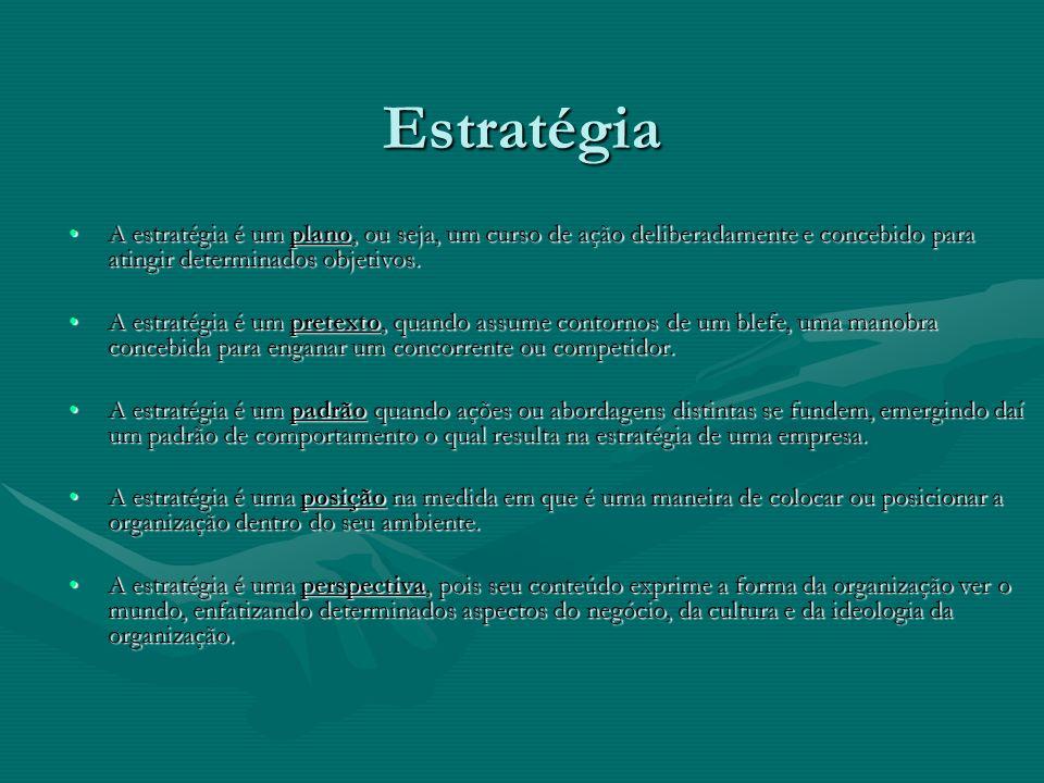 EstratégiaA estratégia é um plano, ou seja, um curso de ação deliberadamente e concebido para atingir determinados objetivos.