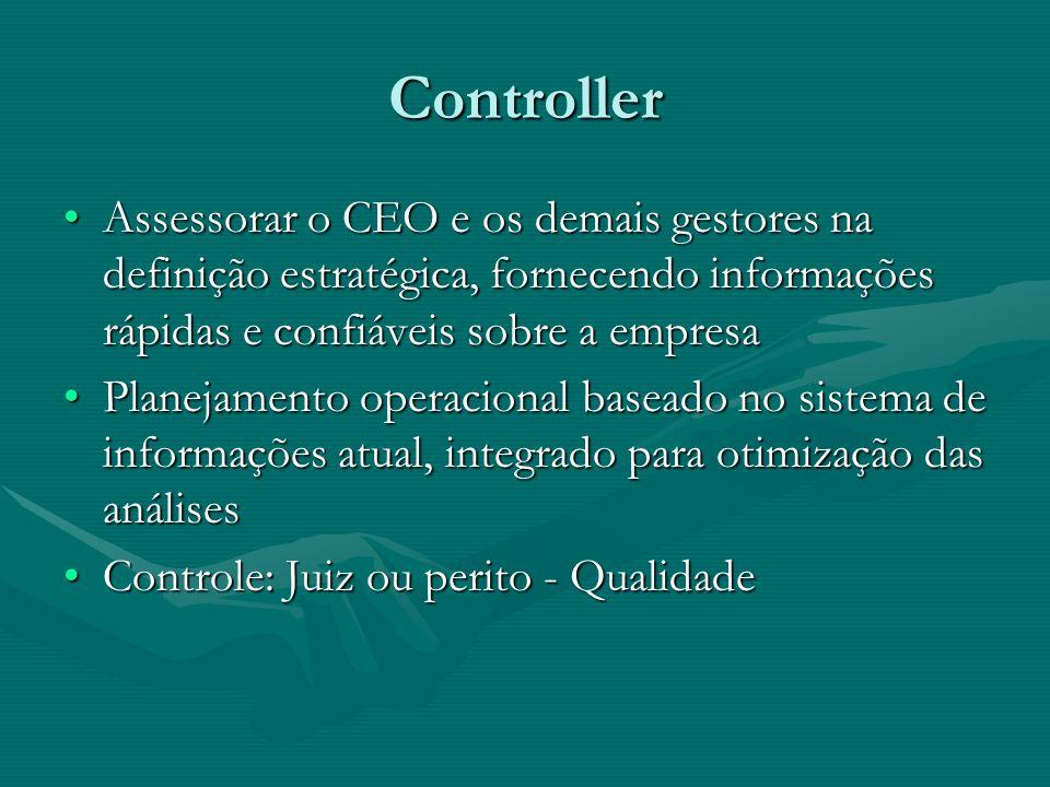 ControllerAssessorar o CEO e os demais gestores na definição estratégica, fornecendo informações rápidas e confiáveis sobre a empresa.