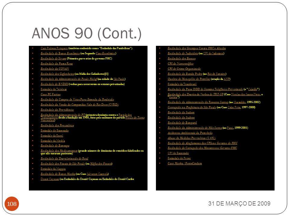 ANOS 90 (Cont.) Caso Rubens Ricupero (também conhecido como Escândalo das Parabólicas ). Escândalo do Banco Econômico (ou Segundo Caso Econômico)