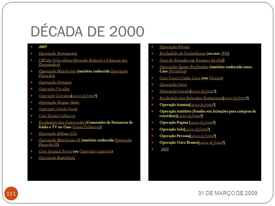 DÉCADA DE 2000 31 DE MARÇO DE 2009 2007 Operação Testamento