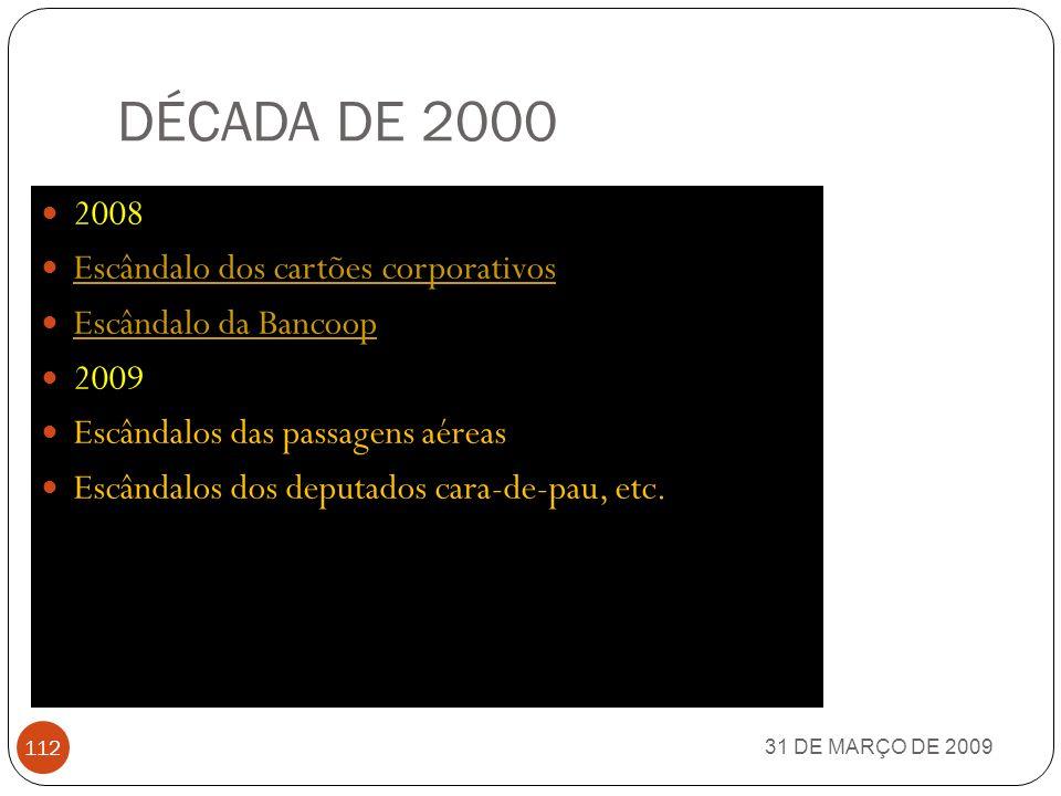 DÉCADA DE 2000 2008 Escândalo dos cartões corporativos