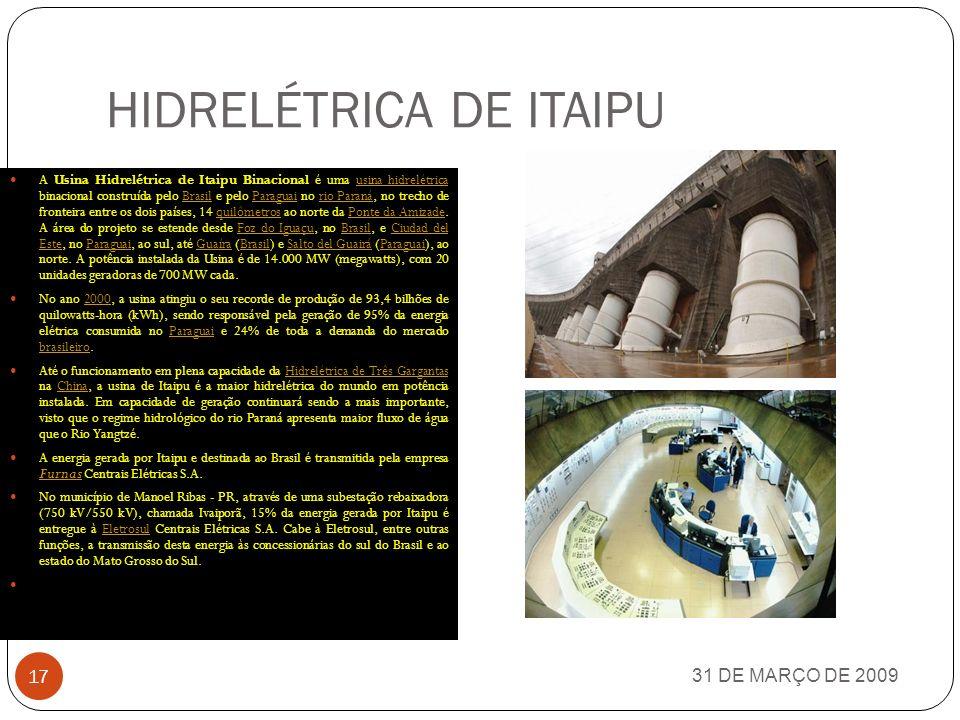 HIDRELÉTRICA DE ITAIPU