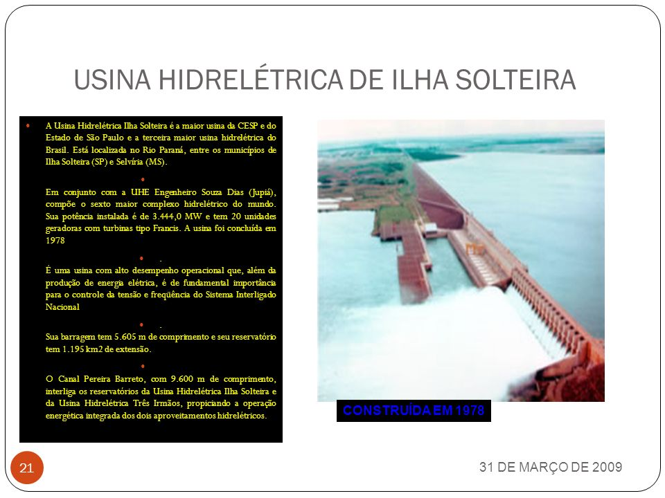 USINA HIDRELÉTRICA DE ILHA SOLTEIRA