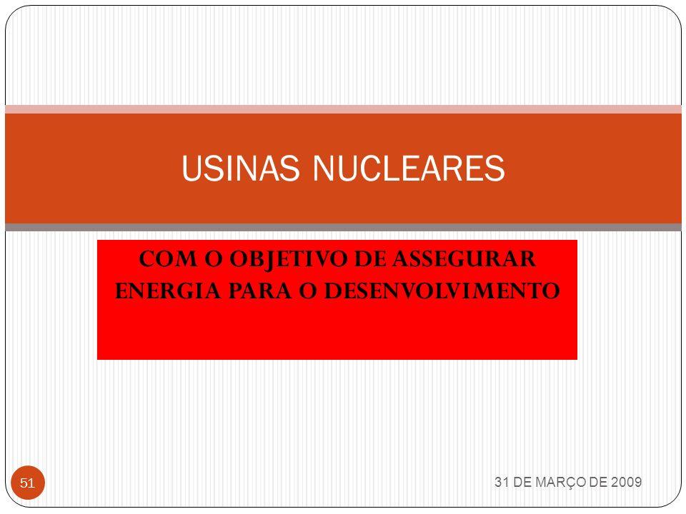 COM O OBJETIVO DE ASSEGURAR ENERGIA PARA O DESENVOLVIMENTO
