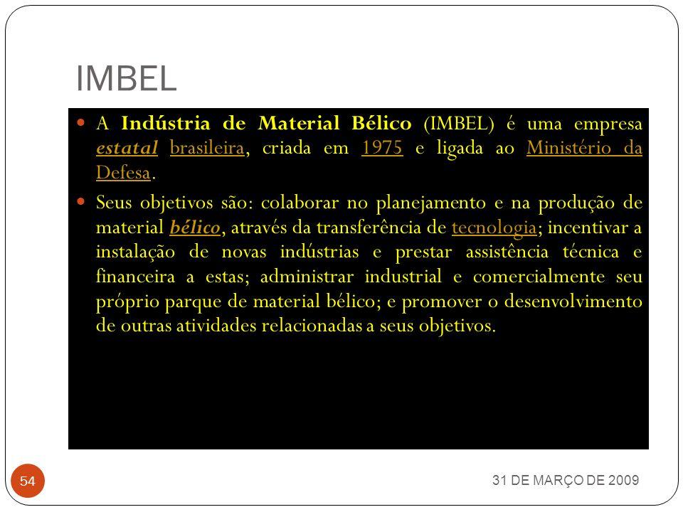 IMBEL A Indústria de Material Bélico (IMBEL) é uma empresa estatal brasileira, criada em 1975 e ligada ao Ministério da Defesa.