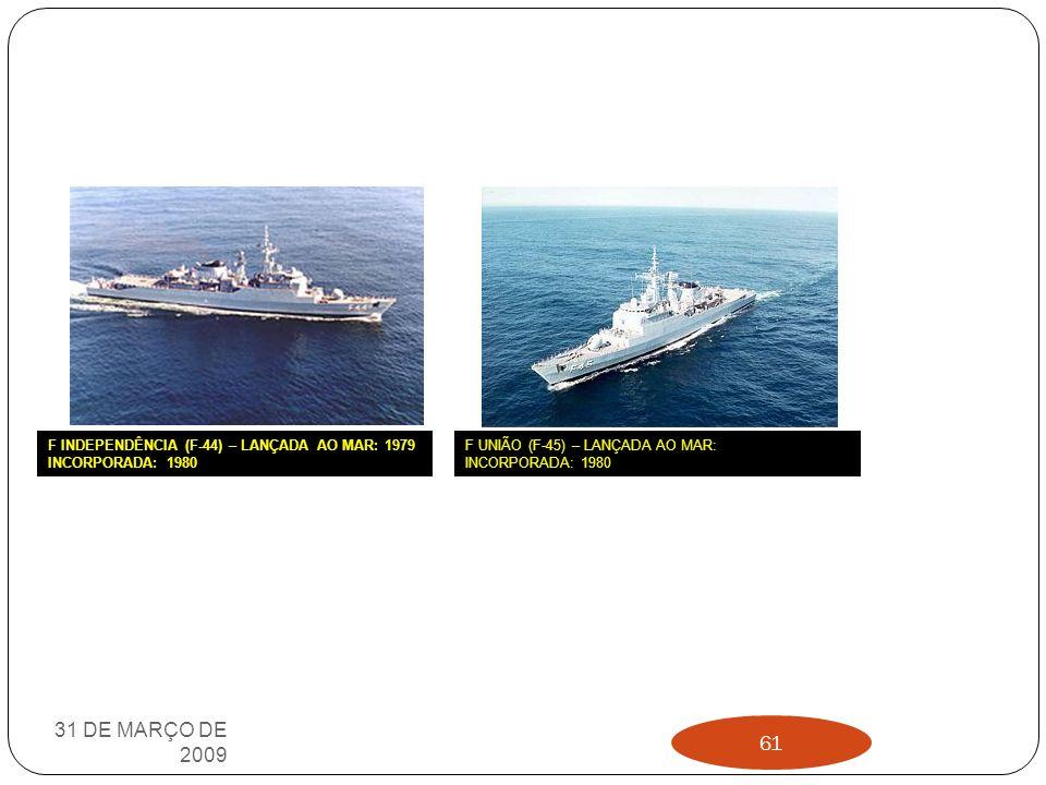 31 DE MARÇO DE 2009 F INDEPENDÊNCIA (F-44) – LANÇADA AO MAR: 1979