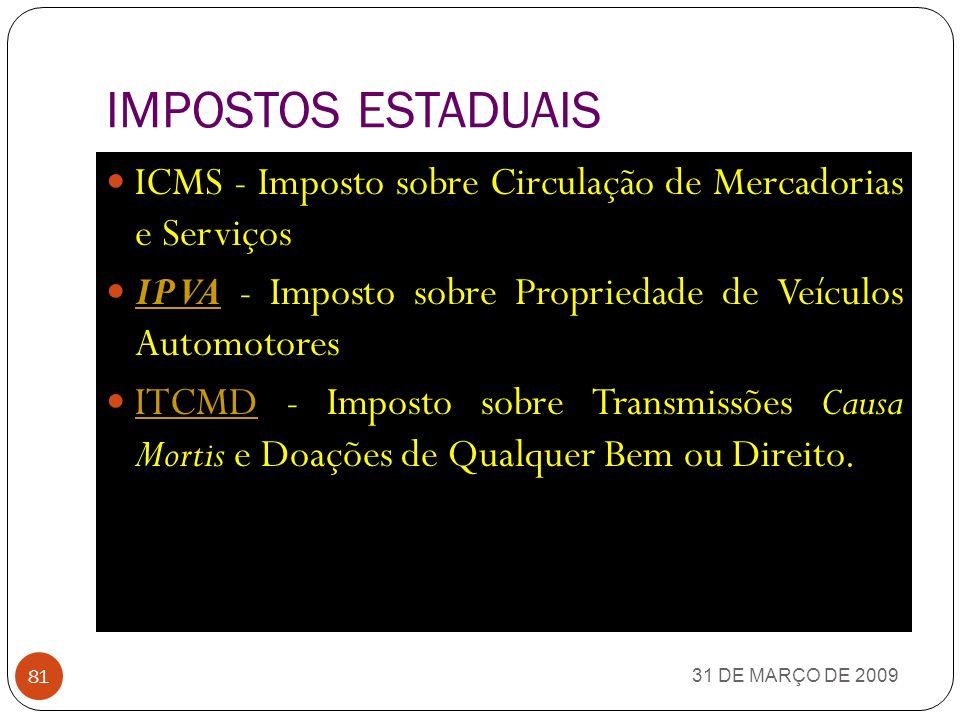 IMPOSTOS ESTADUAIS ICMS - Imposto sobre Circulação de Mercadorias e Serviços. IPVA - Imposto sobre Propriedade de Veículos Automotores.