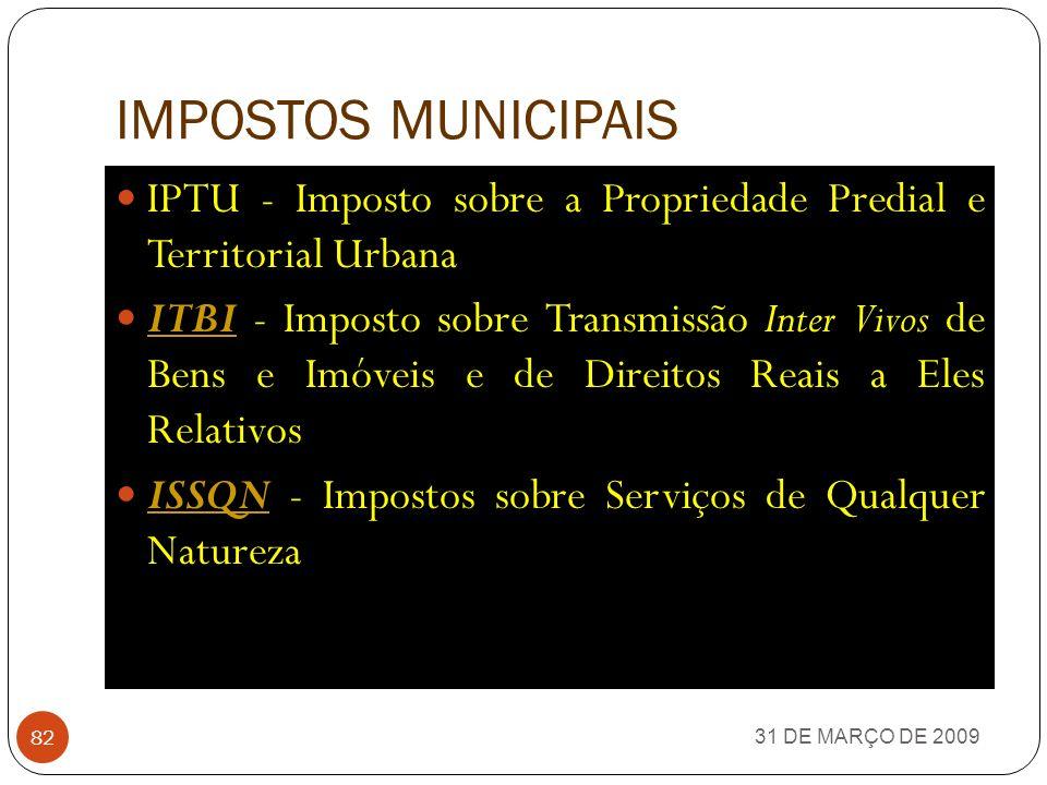 IMPOSTOS MUNICIPAIS IPTU - Imposto sobre a Propriedade Predial e Territorial Urbana.