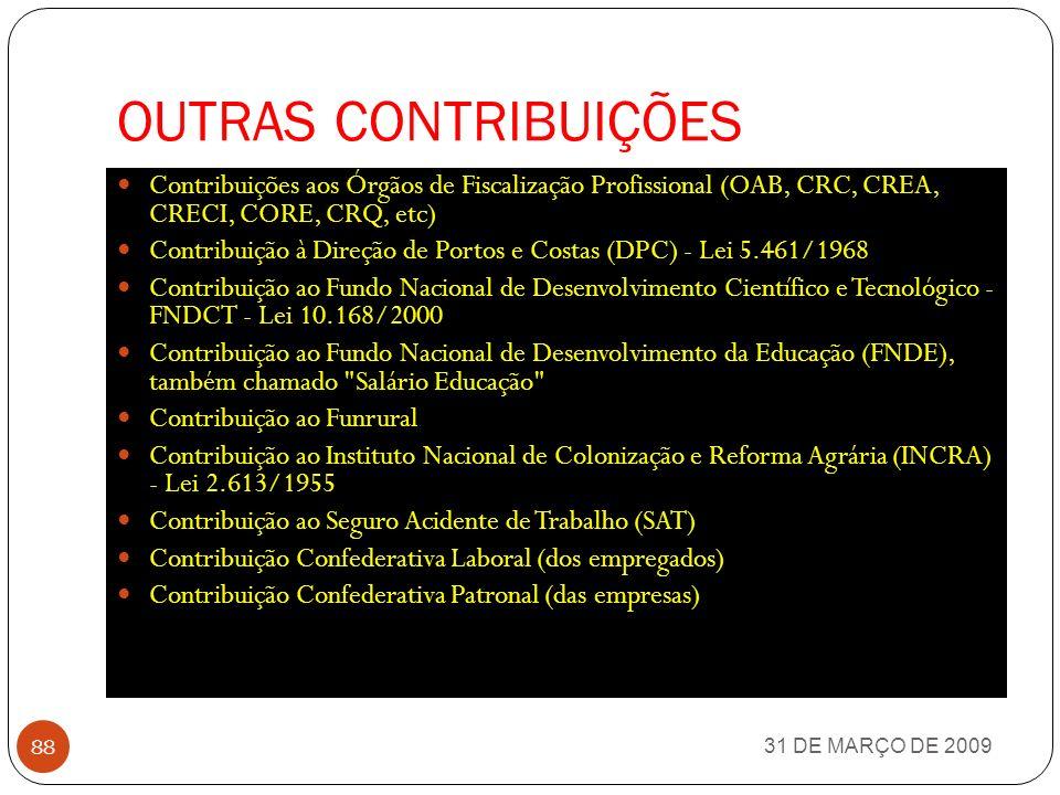 OUTRAS CONTRIBUIÇÕES Contribuições aos Órgãos de Fiscalização Profissional (OAB, CRC, CREA, CRECI, CORE, CRQ, etc)