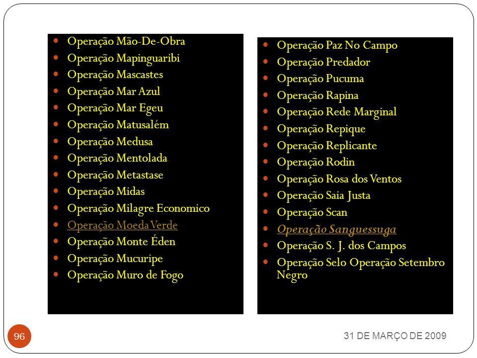 Operação Mapinguaribi Operação Mascastes Operação Mar Azul